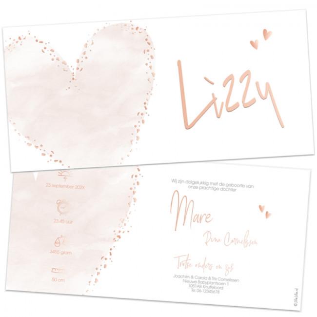 Geboortekaartje Roséfolie kaartjes hart