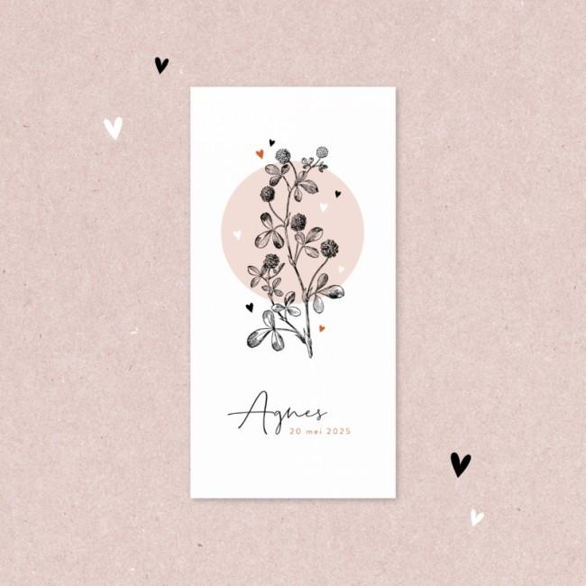 Geboortekaartje Roze cirkel en bloem