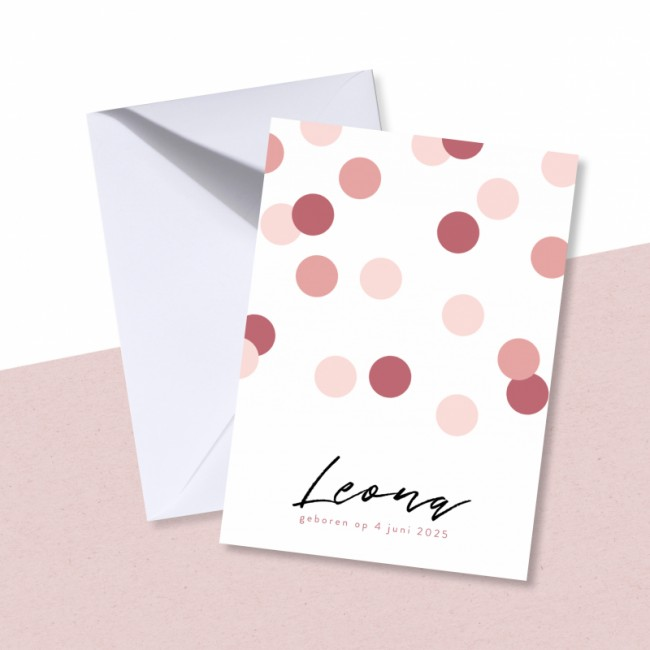 Geboortekaartje Roze confetti