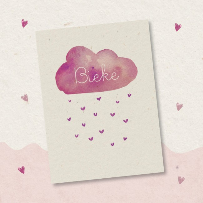 Geboortekaartje Roze hartjesregen