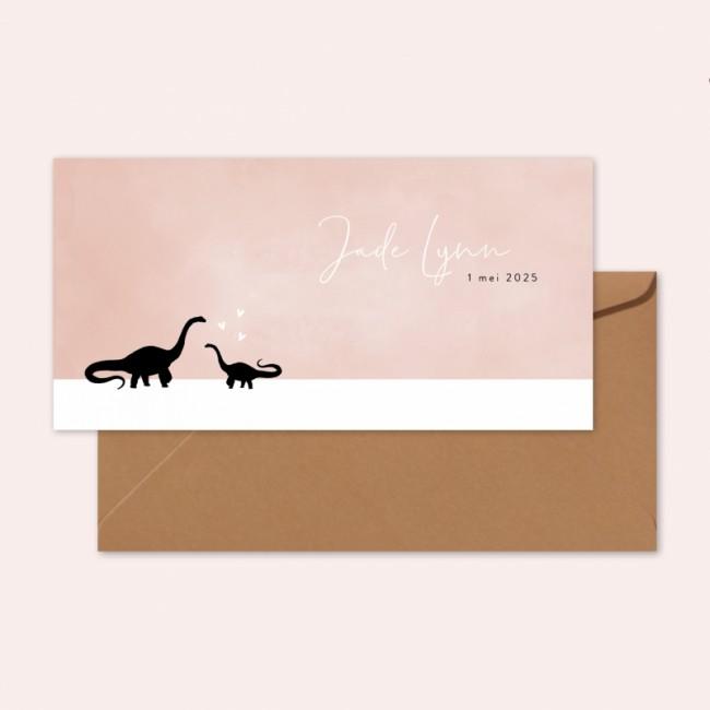 Geboortekaartje Roze kaartje met dino's