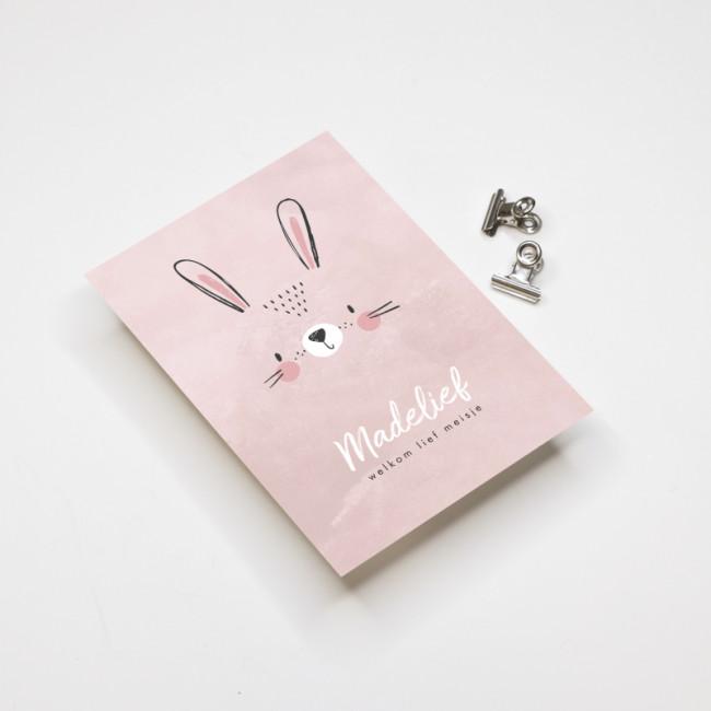 Geboortekaartje Roze konijn
