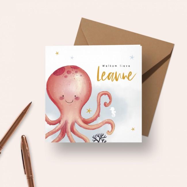 Geboortekaartje Roze octopus