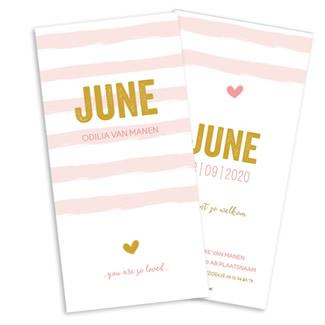 Geboortekaartje Roze strepen en geel hart