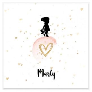 Geboortekaartje Silhouet confetti hartjes