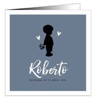 Geboortekaartje Silhouet jongen en hartjes