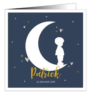 Geboortekaartje Silhouet jongentje op maan