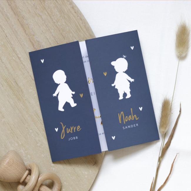 Geboortekaartje Silhouet tweeling in goud