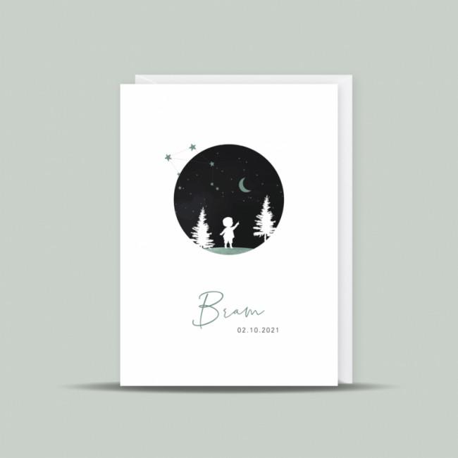 Geboortekaartje silhouette en sterrenbeeld