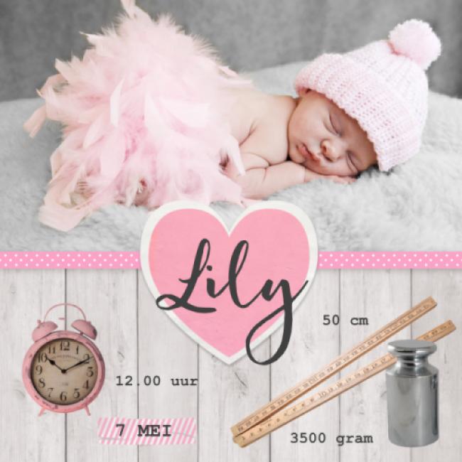 Geboortekaartje Steigerhout en roze hart