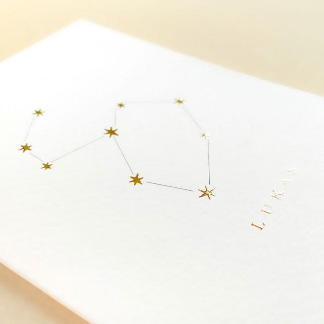 Geboortekaartje sterrenbeeld met foliedruk