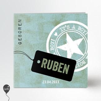 Geboortekaartje Stoer label