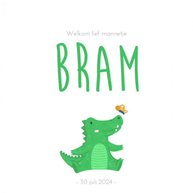Geboortekaartje Stoere krokodil