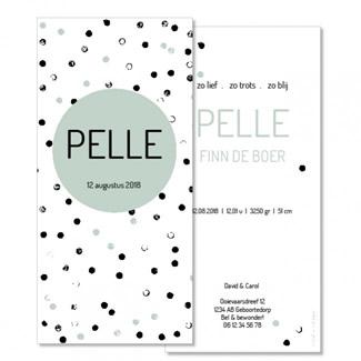 Geboortekaartje Stoere stippen  |  Pelle