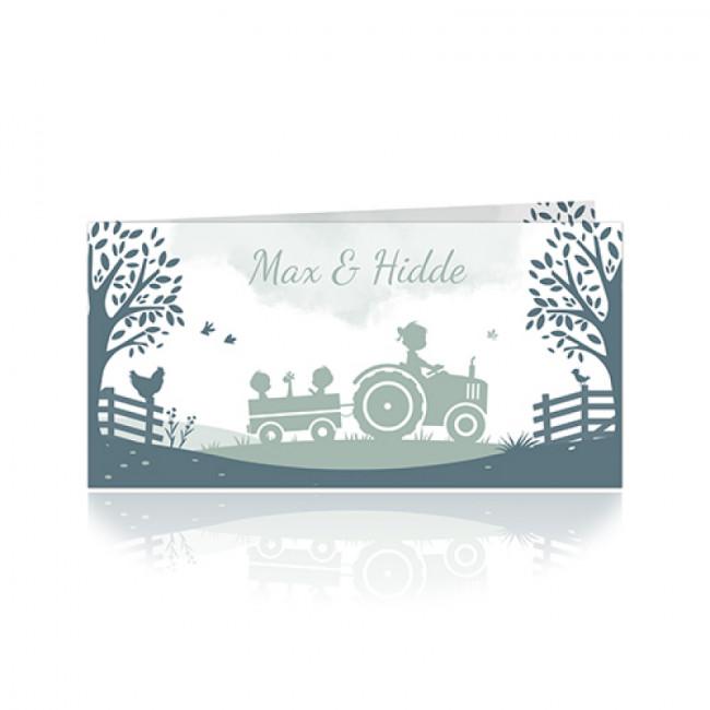 Geboortekaartje tractor tweeling