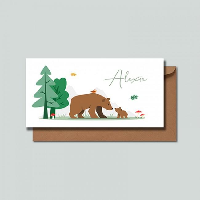 Geboortekaartje Twee beren herfst