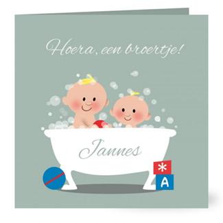 Geboortekaartje Twee broertjes in bad