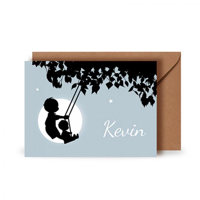 Geboortekaartje Twee jongens op schommel