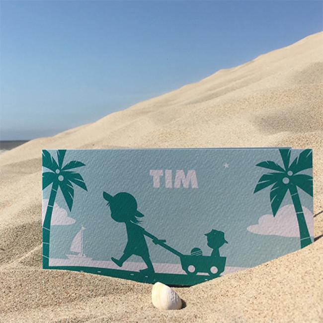 Geboortekaartje twee kinderen op strand