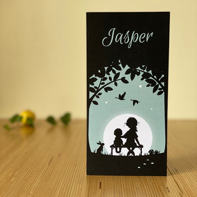 Geboortekaartje Twee kinderen silhouet