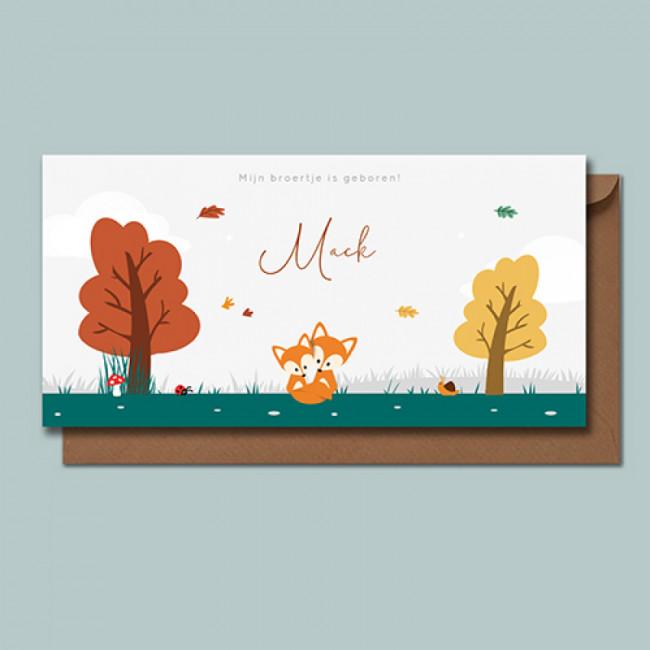 Geboortekaartje Twee vossen in herfst