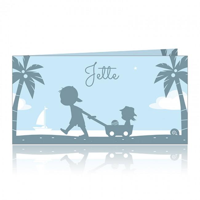 Geboortekaartje Tweede kind strand silhouet