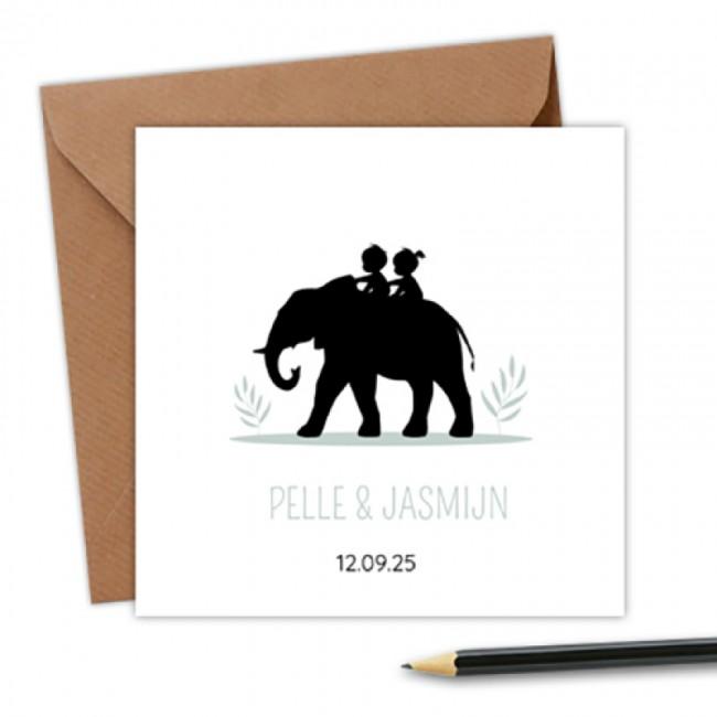 Geboortekaartje tweeling op olifant