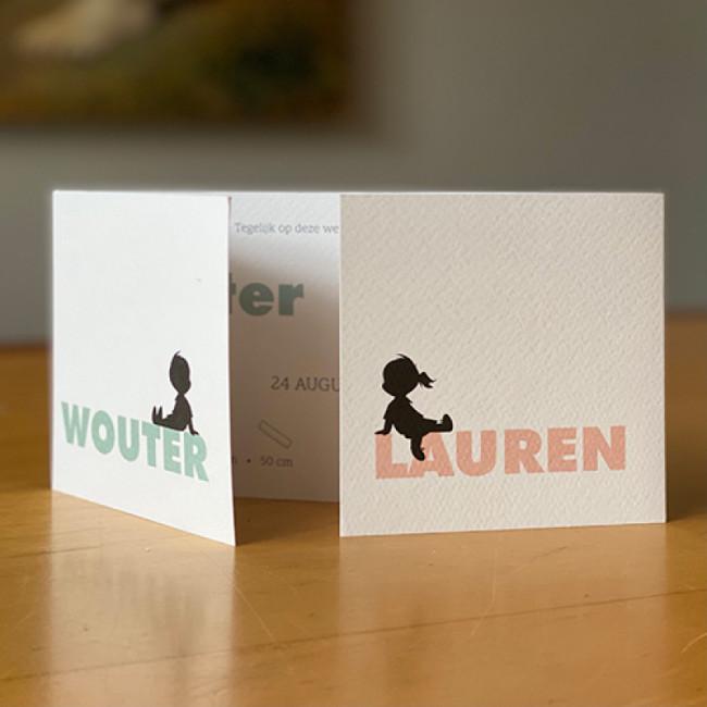 Geboortekaartje tweeling typografie