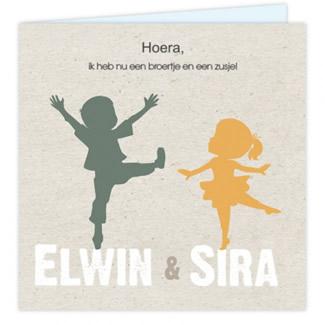 Geboortekaartje Tweelingkaartje silhouette