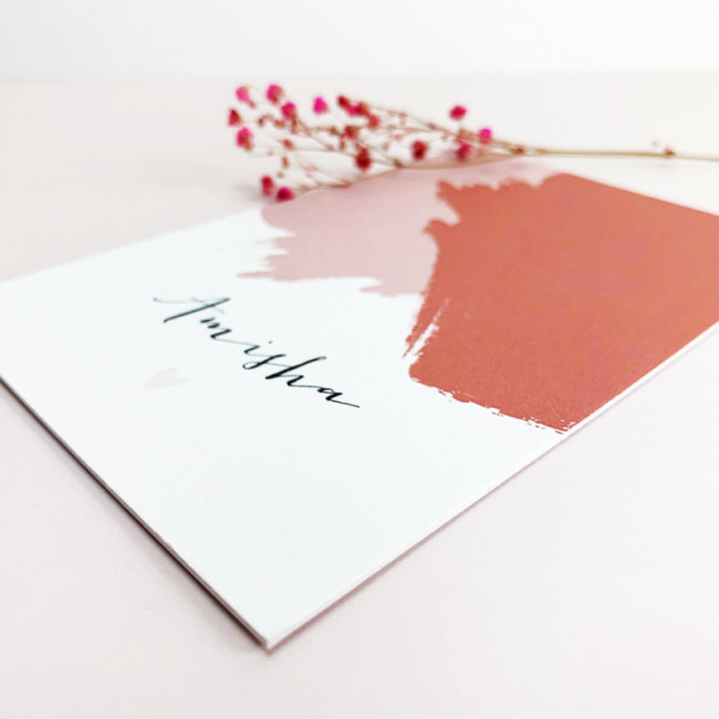 Geboortekaartje Verf stroken roze en rood