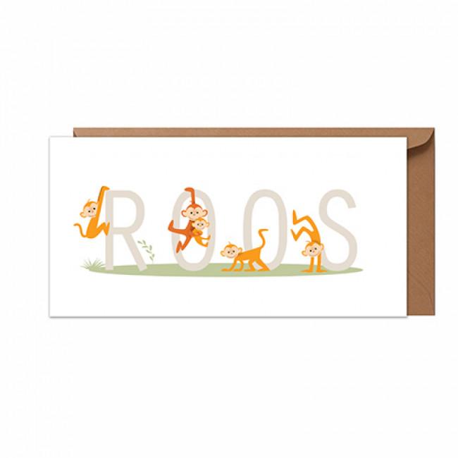 Geboortekaartje vijf aapjes