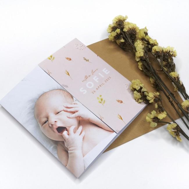 Geboortekaartje Roze met droogbloemen