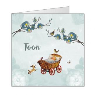 Geboortekaartje Vintage kinderwagen jongen