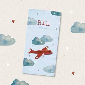 Geboortekaartje Vliegtuig met wolken