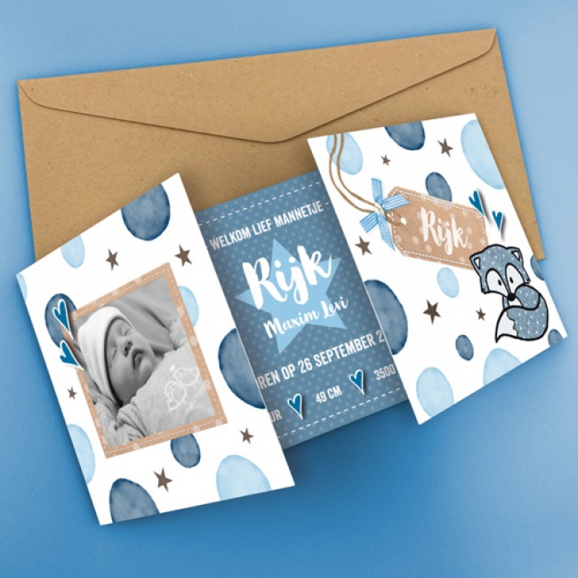Geboortekaartje Blauwe stippen