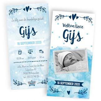 Geboortekaartje Waterverf en foto