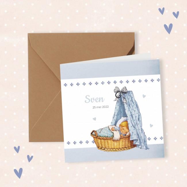 Geboortekaartje Wiegje met borduursel