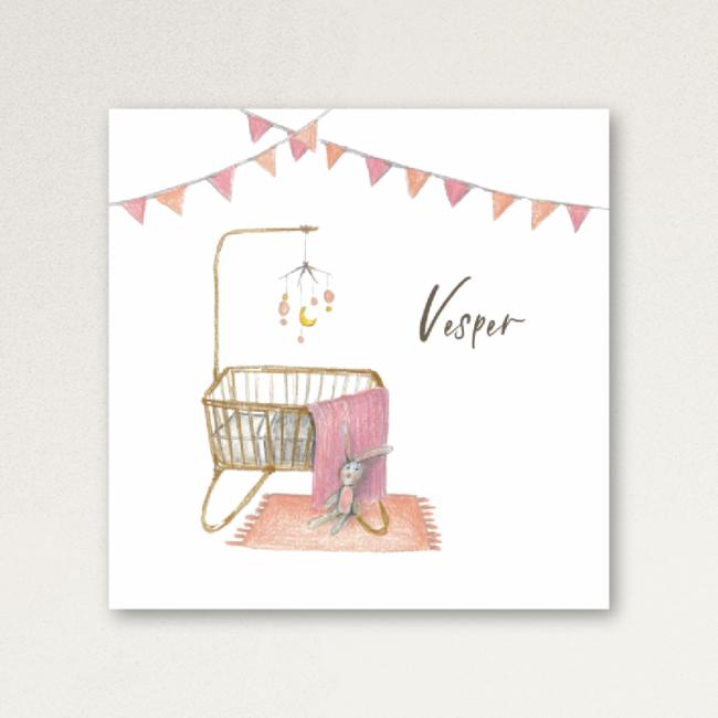 Geboortekaartje Wiegje Vlaggetjes Roze