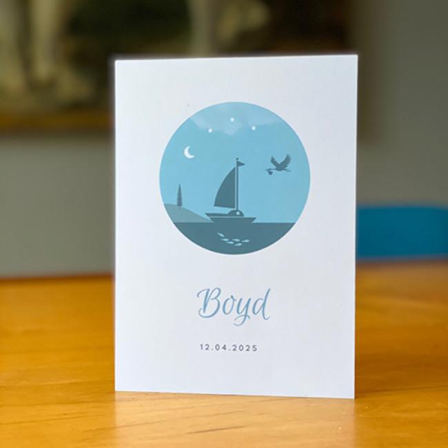 Geboortekaartje zeilboot en ooievaar
