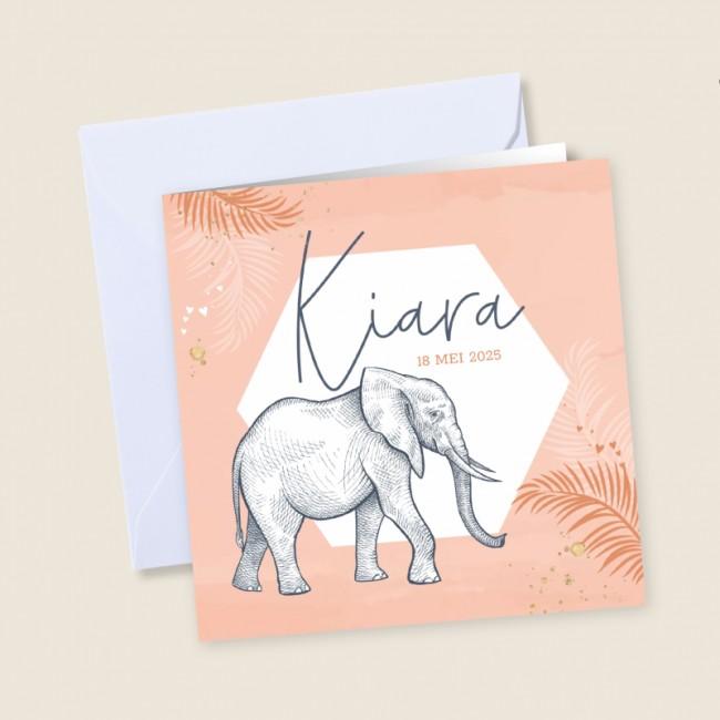 Geboortekaartje Zeshoek met olifant perzik